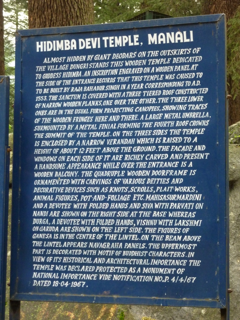 Hadimba Devi Temple - Sign Board